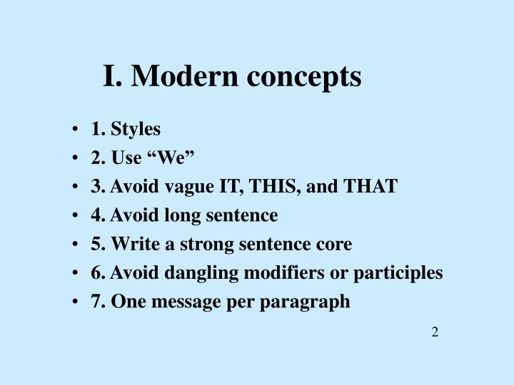 I. Modern concepts