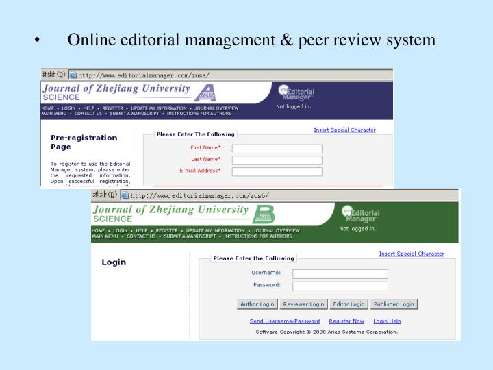 Online editorial management & peer review system