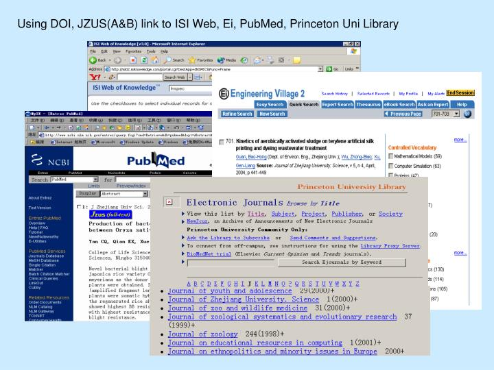 Using DOI, JZUS(A&B) link to ISI Web, Ei, PubMed, Princeton Uni Library