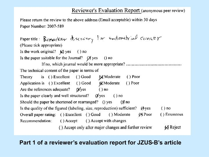Part 1 of a reviewers evaluation report for JZUS-Bs article