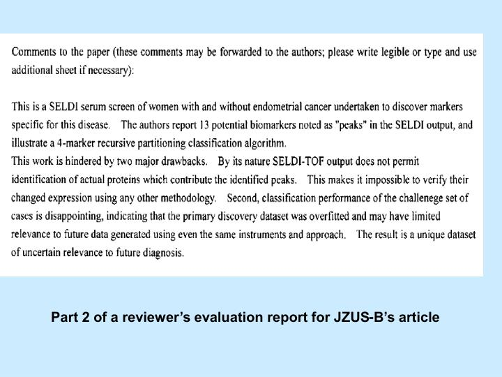 Part 2 of a reviewers evaluation report for JZUS-Bs article
