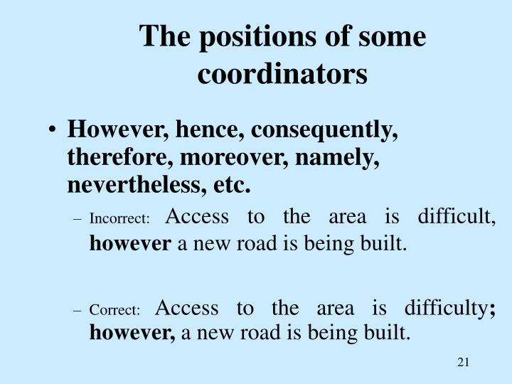 The positions of some coordinators