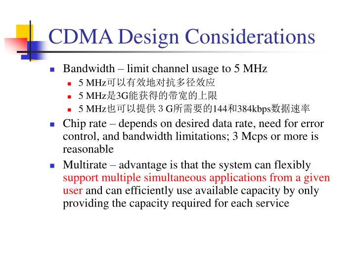 CDMA Design Considerations