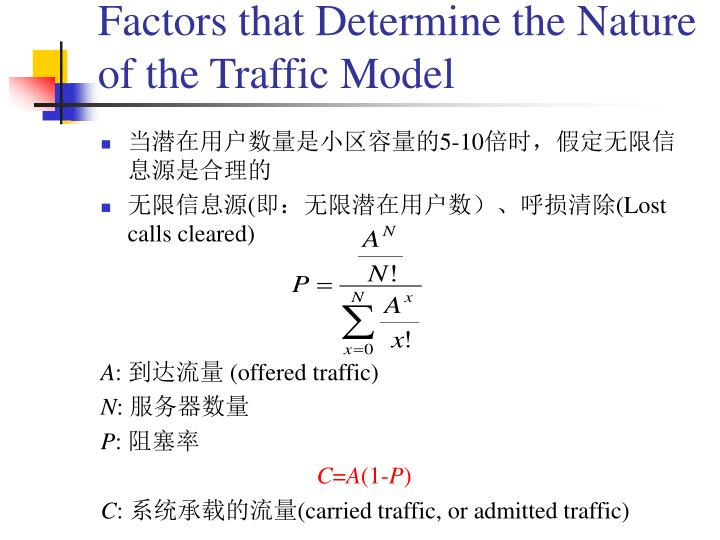 Factors that Determine the Nature of the Traffic Model