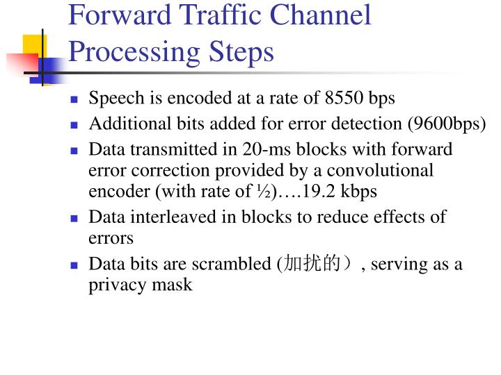 Forward Traffic Channel Processing Steps