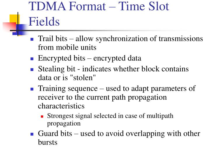 TDMA Format – Time Slot Fields