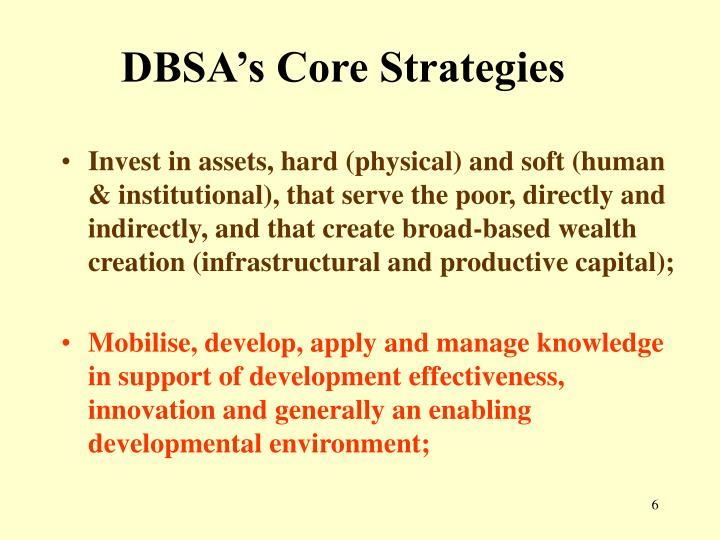 DBSA's Core Strategies