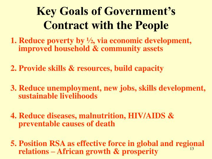 Key Goals of Government's Contract with the People