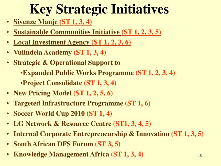 Key Strategic Initiatives