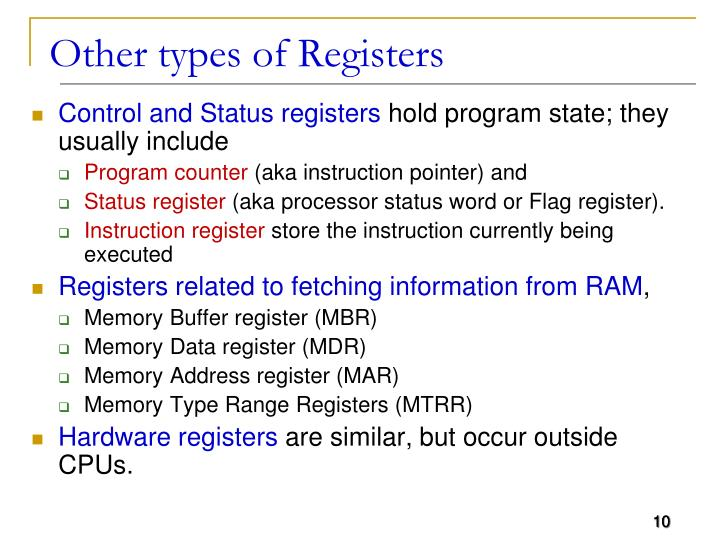 Other types of Registers
