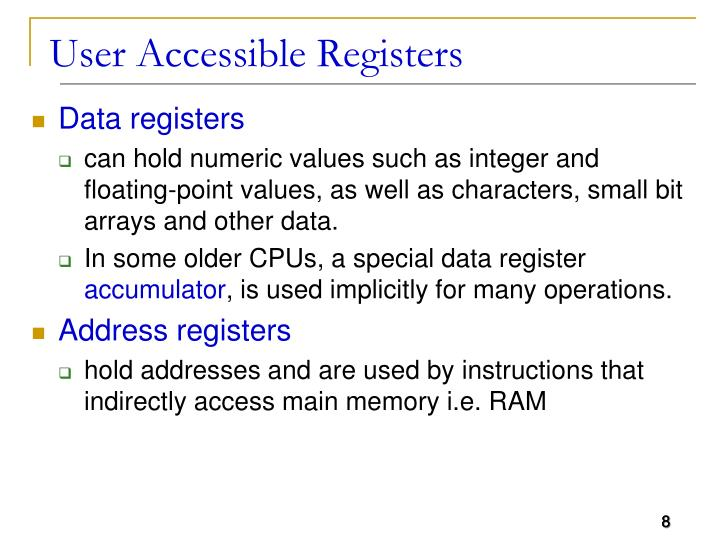User Accessible Registers