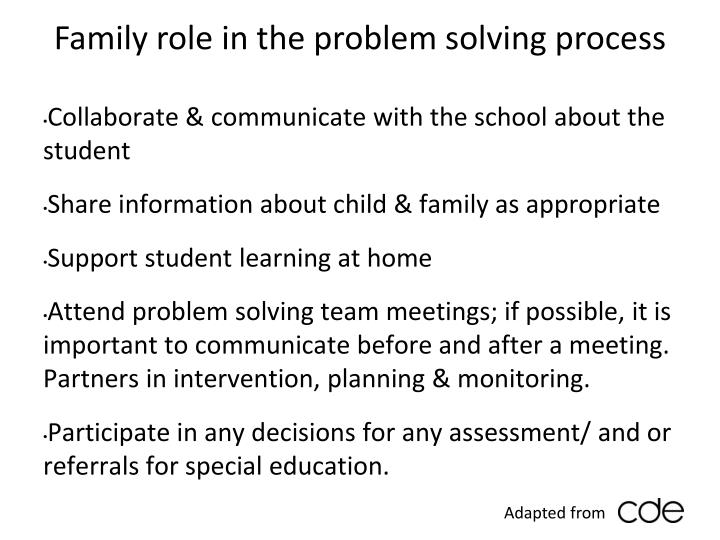 Family role in the problem solving process