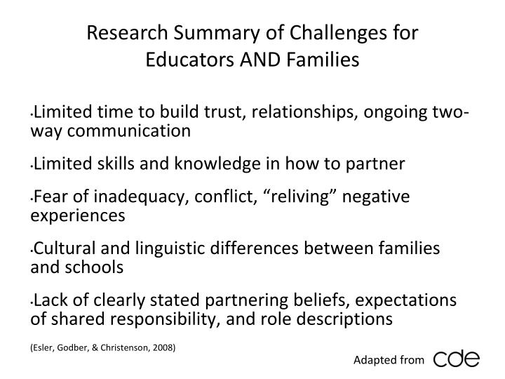 Research Summary of Challenges for  Educators AND Families
