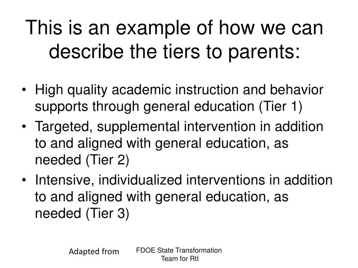 This is an example of how we can describe the tiers to parents: