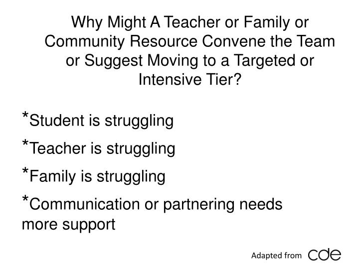 Why Might A Teacher or Family or Community Resource Convene the Team or Suggest Moving to a Targeted or Intensive Tier?