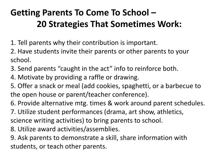 Getting Parents To Come To School –