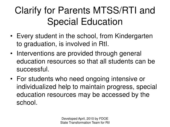 Clarify for Parents MTSS/RTI and Special Education