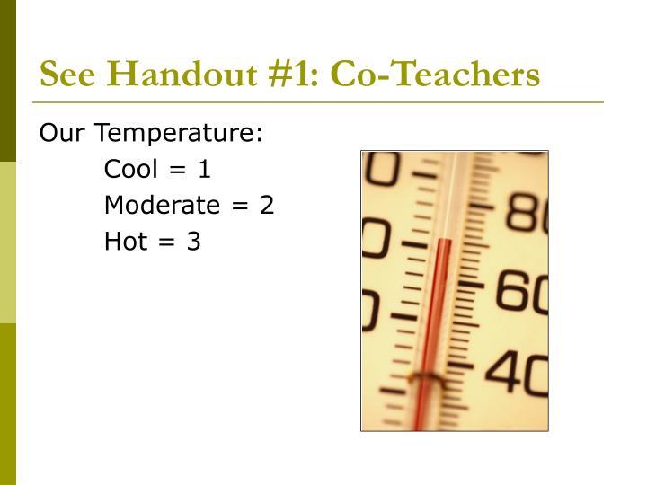 See Handout #1: Co-Teachers