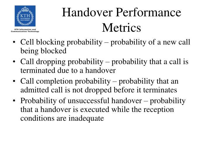 Handover Performance Metrics