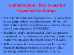 authorization key issues for exporters to europe