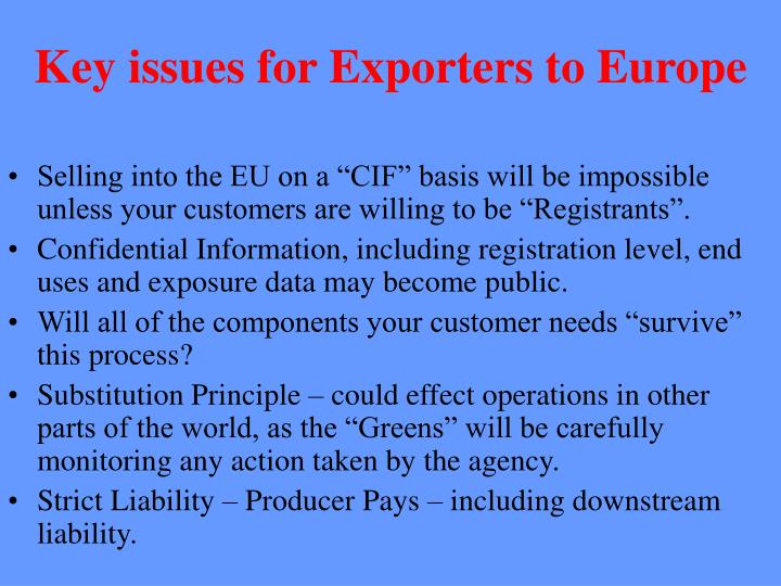 Key issues for Exporters to Europe