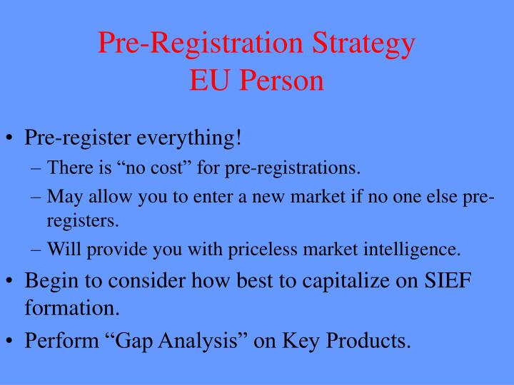 Pre-Registration Strategy