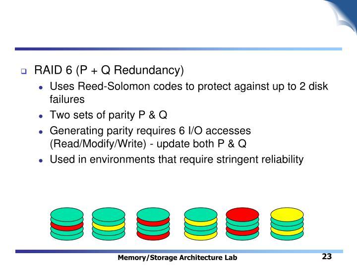RAID 6 (P + Q Redundancy)