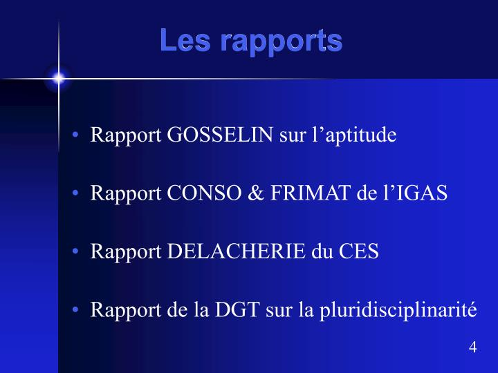 Les rapports