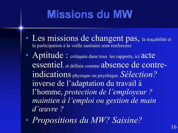 Missions du MW