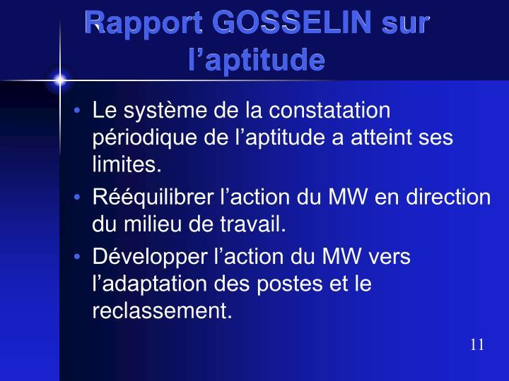 Rapport GOSSELIN sur l'aptitude