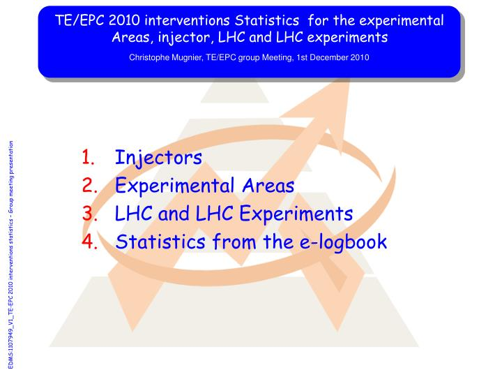 TE/EPC 2010 interventions Statistics  for the experimental Areas, injector, LHC and LHC experiments
