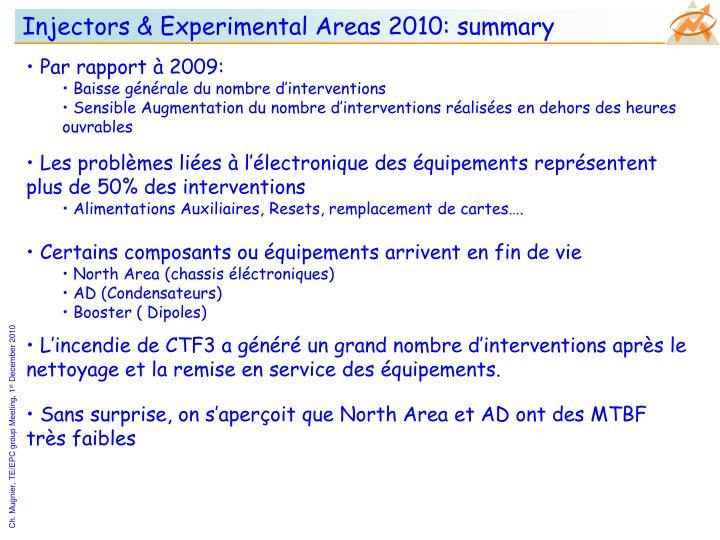 Injectors & Experimental Areas 2010: summary