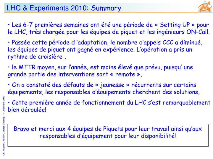 LHC & Experiments 2010