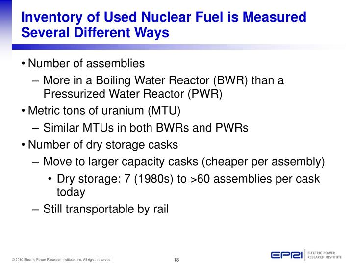 Inventory of Used Nuclear Fuel is Measured Several Different Ways