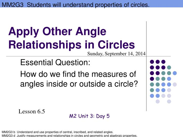 Apply other angle relationships in circles