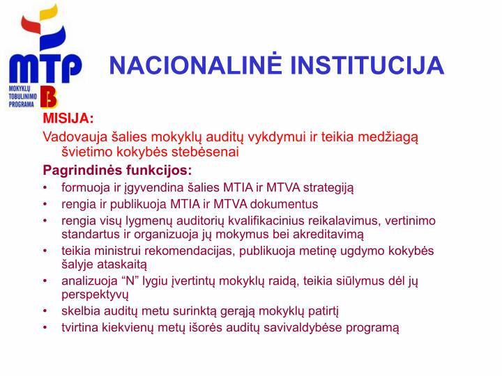 NACIONALINĖ INSTITUCIJA