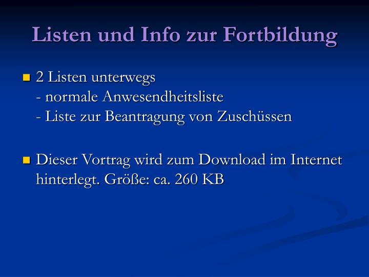 Listen und Info zur Fortbildung