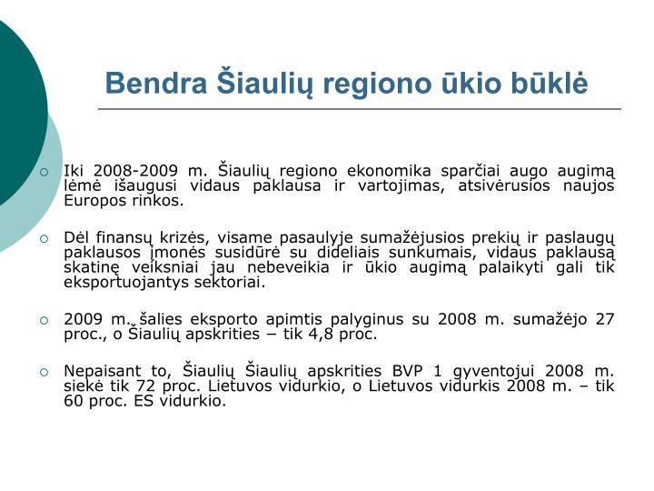 Bendra Šiaulių regiono ūkio būklė