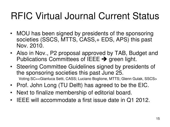 RFIC Virtual Journal Current Status