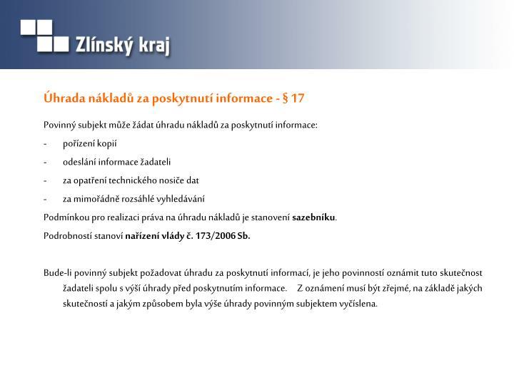 Úhrada nákladů za poskytnutí informace - § 17