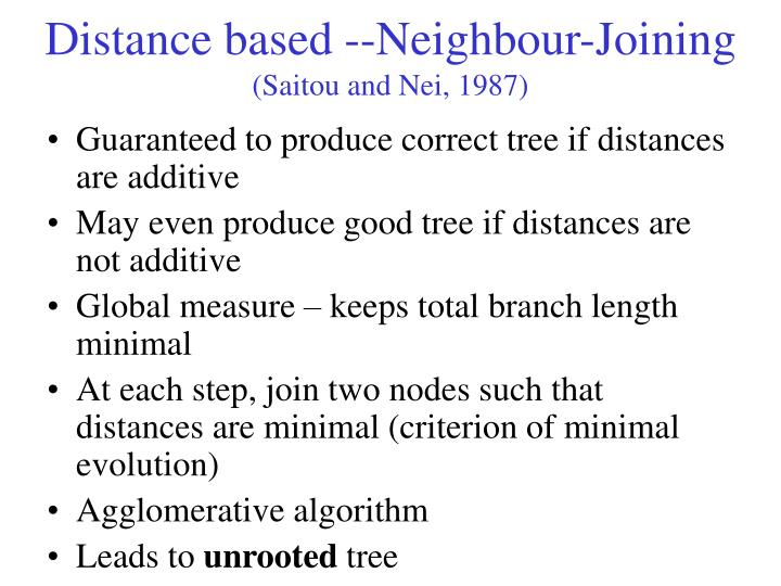 Distance based --Neighbour-Joining