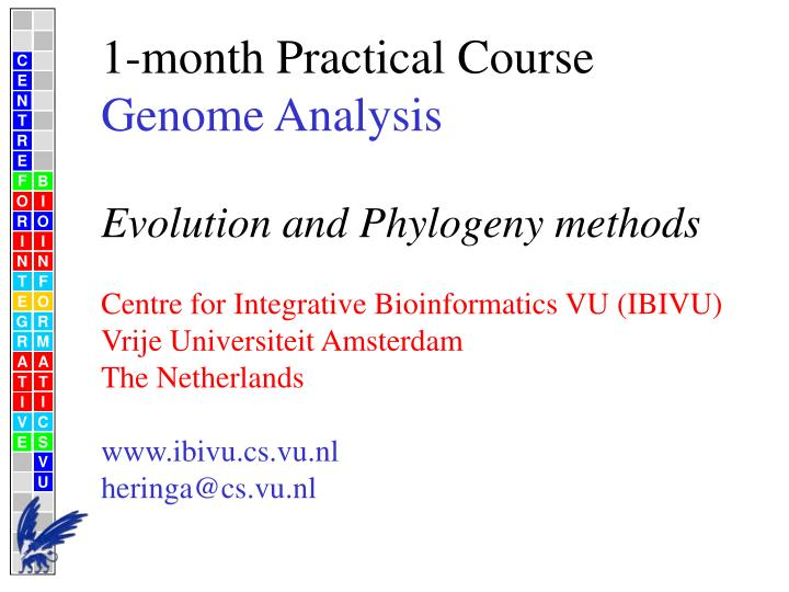 1 month practical course genome analysis evolution and phylogeny methods