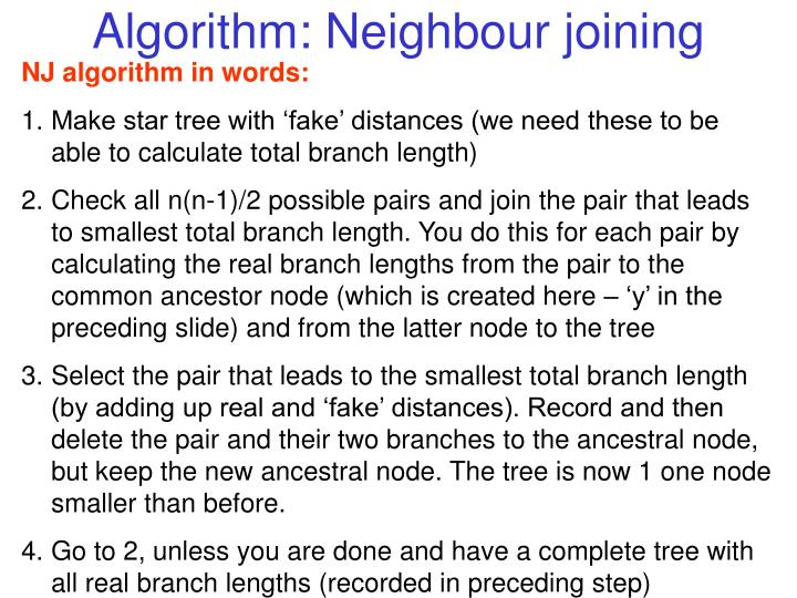 Algorithm: Neighbour joining