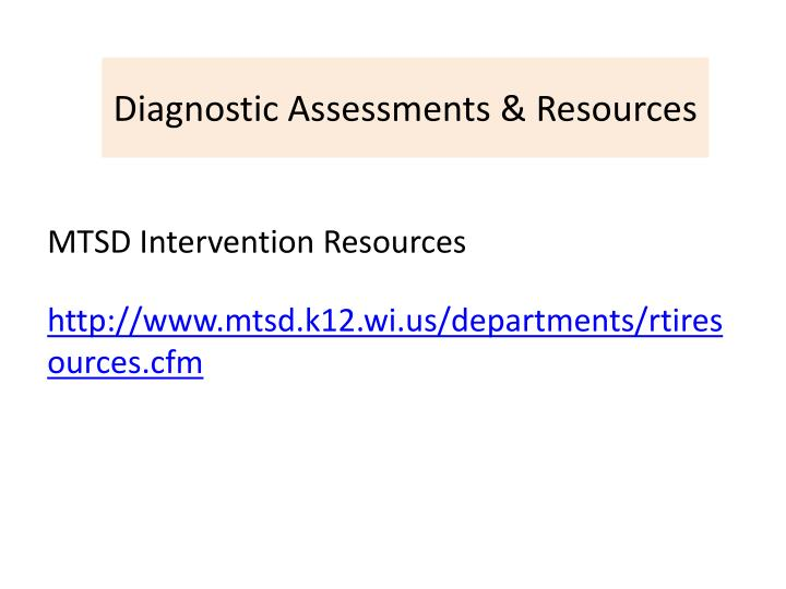 Diagnostic Assessments & Resources