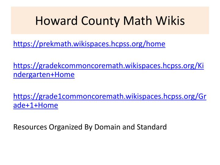 Howard County Math Wikis