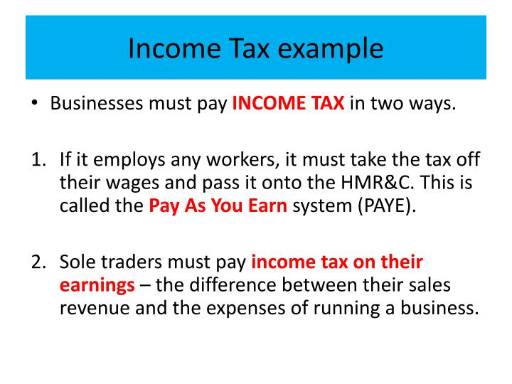 Income Tax example
