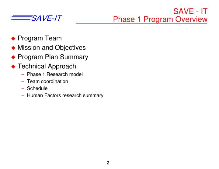 Save it phase 1 program overview
