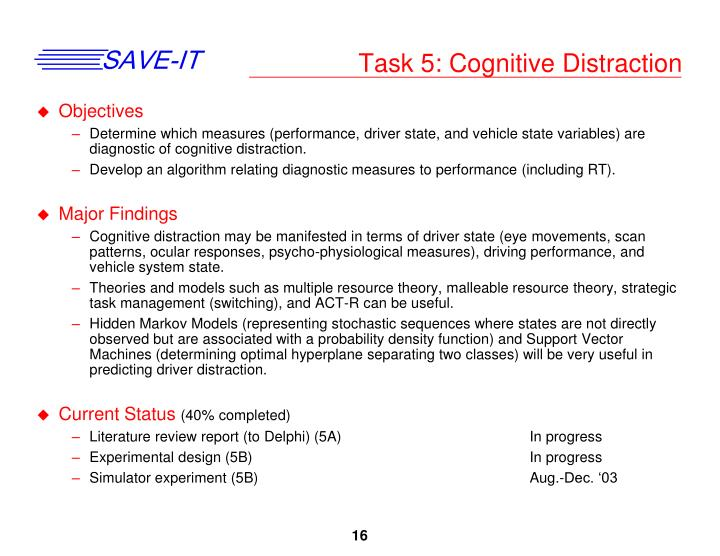 Task 5: Cognitive Distraction