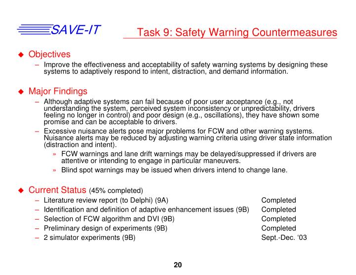 Task 9: Safety Warning Countermeasures