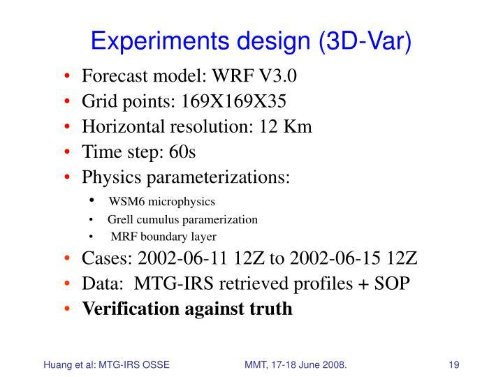 Experiments design (3D-Var)